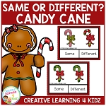Same or Different Candy Cane Clip Cards ~Digital Download~